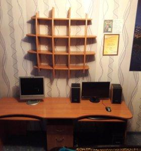 Стол на 2 компьютера(2x60) с полкой