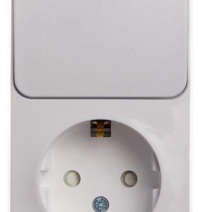 🔥Этюд Белый Блок: Розетка с/з со шторками + выключатель 1-клавиш. с подсветкой🔥