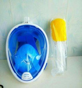 Маска для подводного плаванья EASY BREATH синяя