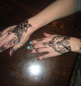 Мехенди, временная татуировка, роспись хной