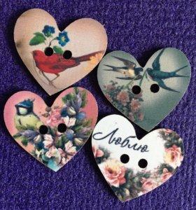 Пуговицы дерево скрапбукинг сердце ❤️ декор