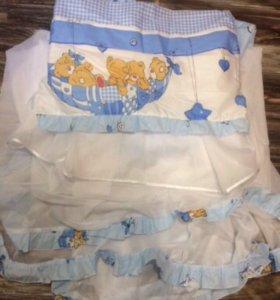 Бортики в детскую кроватку и балдахин