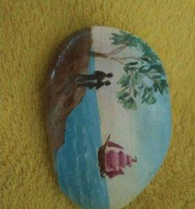 Камень с рисунком ручной работы!