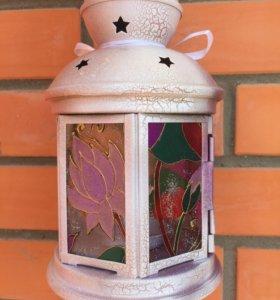 Витражный фонарь подарок ручная роспись