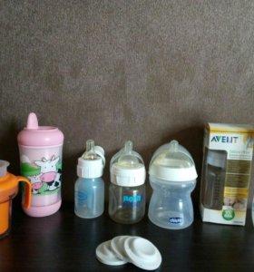 Бутылочки, соска calm, заглушки б/у и новые