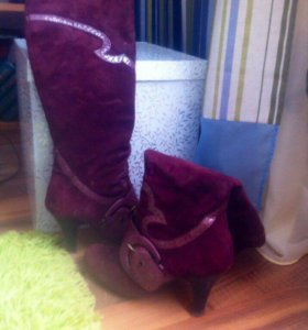 Замшевые сапоги и сумка