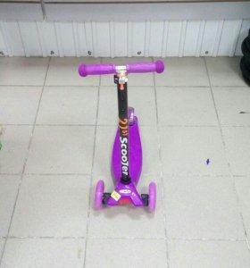 Самокат скутер 21 сиреневые