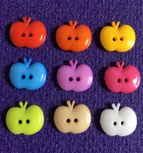Декоративные пуговицы яблоки 🍎 акрил