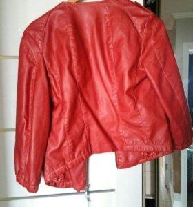 Красная куртка кожзам ,новая