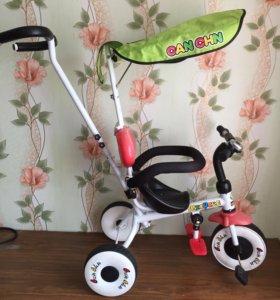 Велосипед детский трехколёсный с ручкой