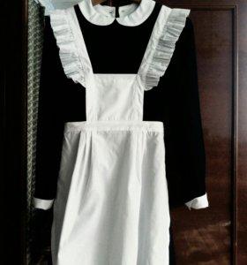 Школьное платье+фартук