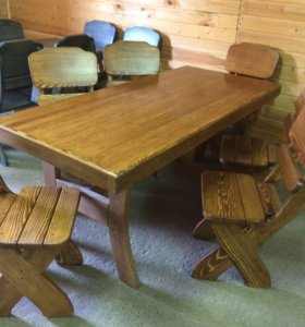 Стол и стулья из массива сосны на дачу Викинг