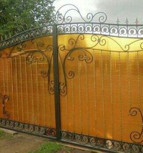 Ворота кованые из поликарбоната