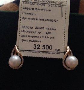 Серьги золото 585,жемчуг и фианиты