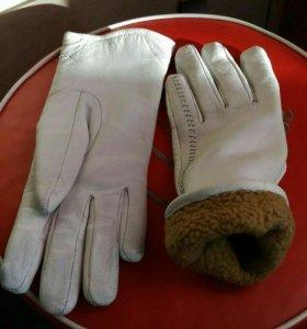 Зимние перчатки нат.кожа .