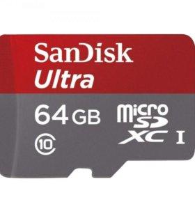 MicroSD 64Gb SanDisk Class 10 UHS-I 48Mb/s без адаптера