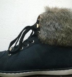 ботинки кожа с мехом кролика и внутри 40 раз
