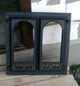 Чугунная каминная дверца со стеклом SVT400