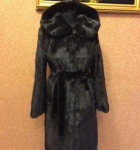 Шикарная норковая шуба чёрная 100 см