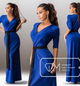 Платье синее в пол с чёрным поясом