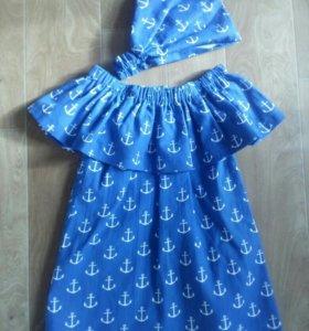 Пошив .Детское платье с косыночкой.