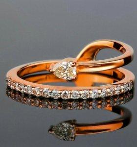 золотое кольцо с бриллиантами 0.27ct