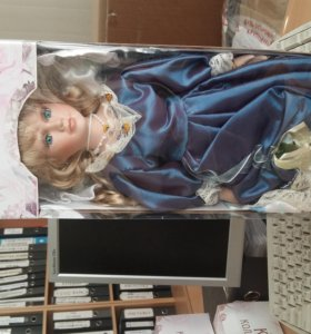 кукла коллекционная фаина в синем платье 40см