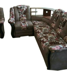 """Диван угловой """"Аделина"""" 0221 с баром и креслом"""