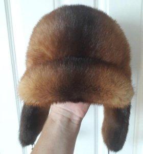 Шапка ушанка из меха норки