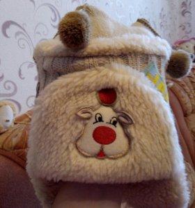 шапка зимняя новая с шарфиком