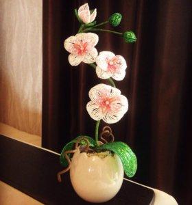 """""""Орхидея в кашпо"""". Бисер."""