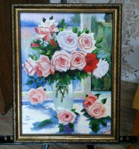 картина маслом розы в вазе