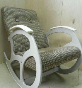 Кресло качалка Релакс, кремовые ножки, рогожка 22