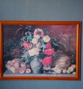 """Репродукция картины И.Хруцкого """"Цветы и плоды""""."""