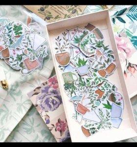 """Иллюстрированные мной наклейки """"Botany"""""""