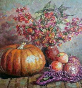 Осенний Натюрморт с тыквой и яблоками
