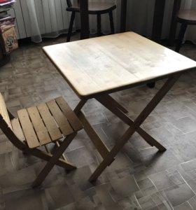 Детский деревянный стол со стулом