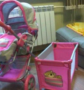 Детские игрушки коляска и кровать