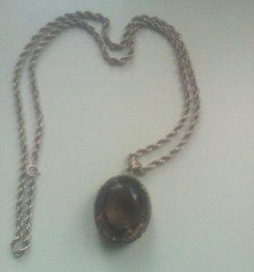 Серебряная  Цепочка с кулоном.раухтопаз