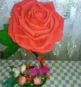 Цветы ручной работы и корзинки для интерьера