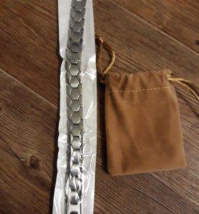 Длинный новый серебрянный браслет