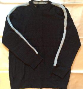 Синий шерстяной свитер М