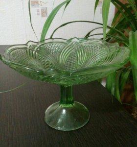 Ваза, конфетница, стекло зеленое, СССР