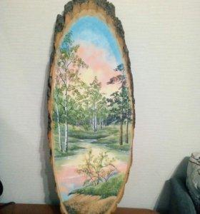 Картина на срезе дерева