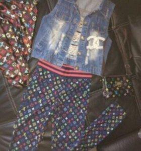 Жилетка джинс и леггинсы