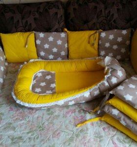 Набор: бортики в кроватку и кокон-гнёздышко