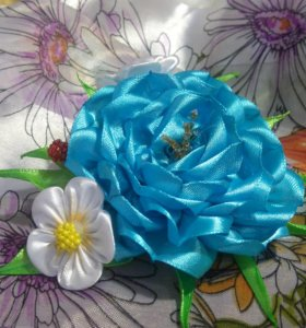 цветок канзаши, заколочка-уточка