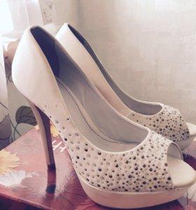 Туфли Climini (белые, ткань) свадебные