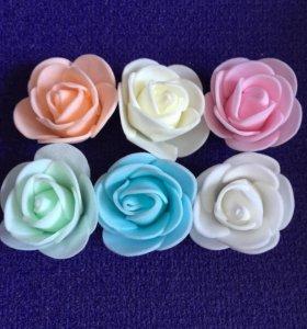Розы 6шт из фоамирана нежные флор декор