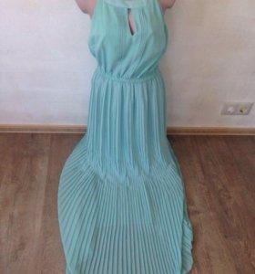 Новое мятное платье в пол длинное шифон